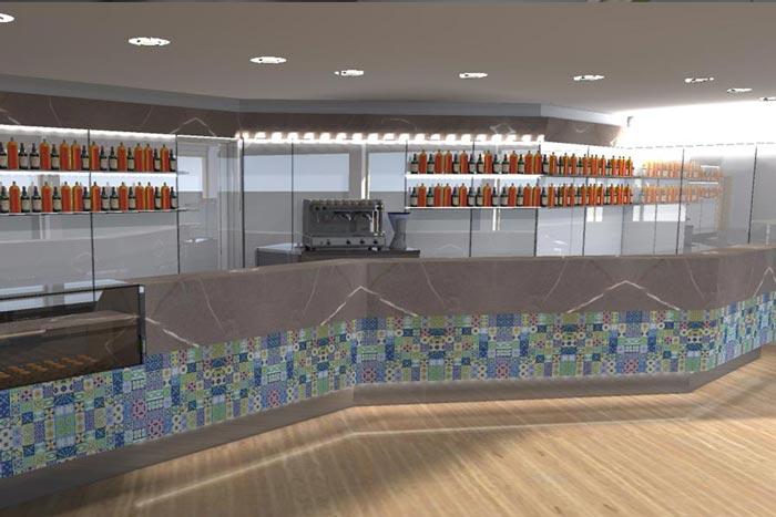 Progettazione e arredamento locali pubblici e attivit for Arredamento fast food
